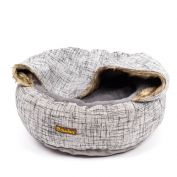 Charlie's Luxury Hooded Round Dog Bed Light Grey