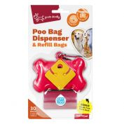 Yours Droolly Red Bone Dog Poo Bag Dispenser