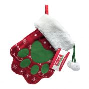 KONG Holiday Stocking Paw Dog Toy Red & Green
