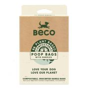 Beco Pets Unscented Compostable Dog Poop Bags with Handles 96 Pack