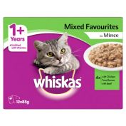 Whiskas Minced Favourites Variety Adult Wet Cat Food 12x85g