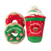 FuzzYard Christmas Reindeer Puppuccino & Donuts Dog Toy 3 Pack
