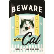 Nostalgic Art Beware of the Cat Metal Sign Small