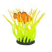 Kazoo Aquarium Silicone Plant Sea Anemone With Clown Fish Small