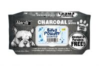 Absorb Plus Baby Powder Charcoal Pet Wipes 80 Pack