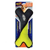 Nerf Tuff Rubber Nylon Plush Bone Dog Toy 28cm