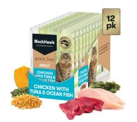 Black Hawk Adult Chicken with Tuna & Ocean Fish Wet Cat Food 12x85g