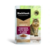 Black Hawk Adult Chicken with Beef & Lamb Wet Cat Food 12x85g