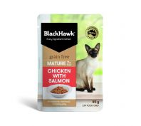 Black Hawk Mature Adult Chicken with Salmon Wet Cat Food 12x85g