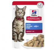 Hills Science Diet Adult Cat Food Ocean Fish Pouches 12x85g