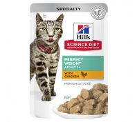 Hills Science Diet Adult Cat Food Perfect Weight Pouches 12x85g