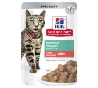 Hill's Science Diet Adult Cat Food Perfect Weight Salmon Pouches 12x85g