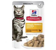 Hills Science Diet Adult Cat Food Urinary Hairball Chicken Pouches 12x85g