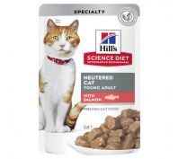Hills Science Diet Adult Cat Food Neutered Salmon Pouches 12x85g