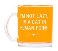 Say What Glass Pet Mug Im Not Lazy Im A Cat In Human Form Orange