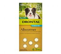 Drontal Allwormer Tablets for Medium Dogs Pack of 5