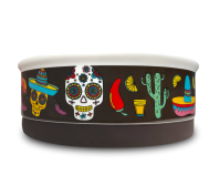 Indie Boho Mexican Skulls Ceramic Dog Bowl