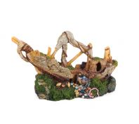 Kazoo Aquarium Ornament Galleon With Treasure Small
