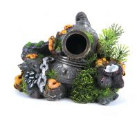 Kazoo Aquarium Ornament Divers Helmet With Plants Small