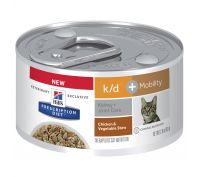 Hill's Prescription Diet k/d Kidney Care + Mobility Chicken and Vegetable Stew Canned Cat Food 24x82g