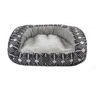 T & S Deluxe Portsea Dog Bed Black & Grey Diamond