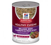 Hills Science Diet Adult Healthy Cuisine Beef, Carrots & Peas Stew Canned Dog Food 354g x 12