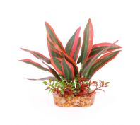 Kazoo Aquarium Silk Plant Thin Leaf Dark Green/Red
